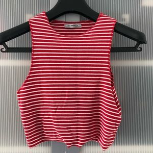 Zara - Red and White Cropped Tank - M